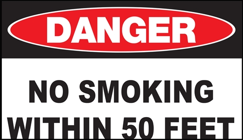 ZING Eco Safety Sign, DANGER No Smoking 50 Ft, 7Hx10W, Recycled Plastic