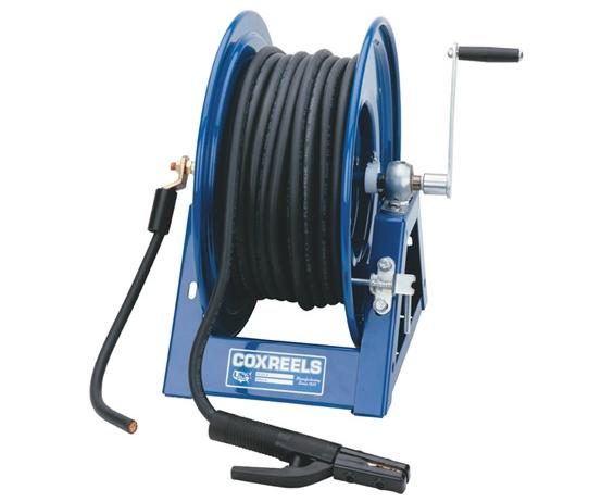 "HAND CRANK WELDING CABLE REELS- 600 Cable Cap. By Gauge #2, 500 Cable Cap. By Gauge #1, 400 Cable Cap. By Gauge #1/0, 300 Cable Cap. By Gauge #2/0, 24-3/4 x 18-1/2 x 17-1/2"" Size WxHxL"