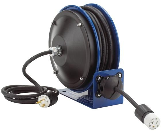 COMPACT POWER CORD REELS- Includes Accessory Single Industrial Receptacle, 16 ga. AWG, 13 Amps