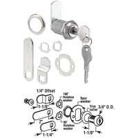 "U 9945 Defender Security Chrome Drawer and Cabinet Lock U 9945, 3/4"" Drawer And Cabinet Lock"