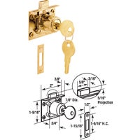 U 10666 Defender Security Brass Drawer and Cabinet Lock with Keeper U 10666, Mortise Door And Drawer Lock