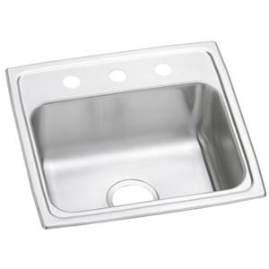 19 x 18 x 7-1/4 in. Single Bowl Stainless Steel Sink 3 Hole