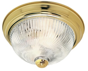 11-1/4 in. 2-Light 60W Ceiling Light in Polished Brass