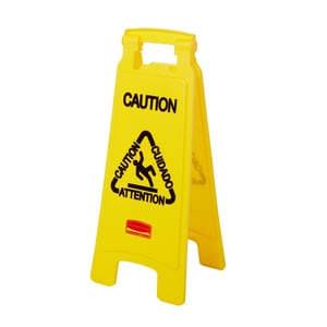 26 in. Sided Floor Caution Sign in Yellow