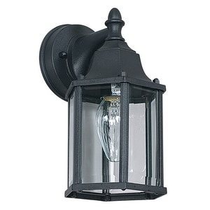 10 x 5-5/8 in. 100W 1-Light Outdoor Wall Lantern in Black