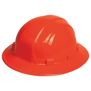 Full Brim Safety Helmet with Mega Ratchet in Hi-Viz Orange