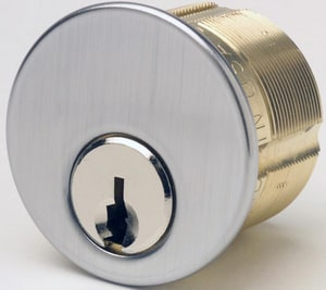 1-1/8 in. Brass Mortise Cylinder in Satin Chrome