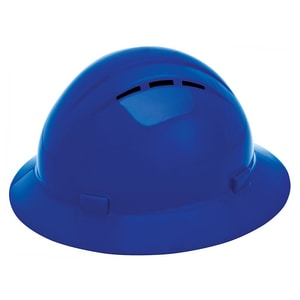 Vent Full Brim Safety Helmet with Mega Ratchet in Blue
