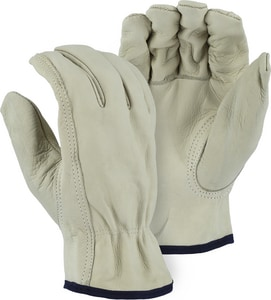 Large Leather Drive Gloves in Beige