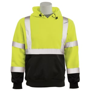 3XL Size Class 2 Pullover Sweatshirt with Attached Hood in Hi-Viz Lime