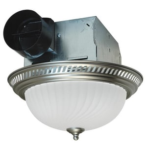 70 cfm Ceiling Mount Round Decorative Exhaust Fan with Light in Nickel