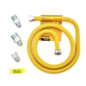 48 in. Yellow Coated Stainless Steel Gas Dryer Connector Kit