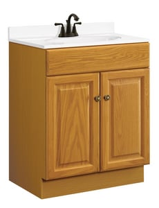 31-1/2 x 24 x 18 in. Vanity Base Cabinet in Honey Oak
