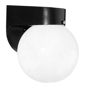 Wall Sconce Exterior with Opal Acrylic Glass in Black,