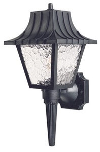 1-Light 60W Exterior Wall Sconce with Clear Acrylic Glass in Black