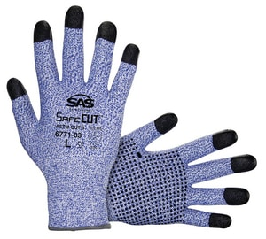 L Size HPPE Knit Gloves with PVC Grip