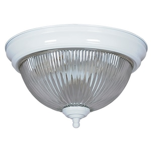 60W Ceiling Mount and Flush Mount Ceiling Fixture with Clear Prismatic in White