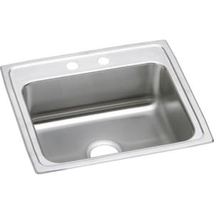 3-Hole 1-Bowl Stainless Steel Topmount Kitchen Sink with Rear Center Drain