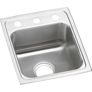 15 x 17 in. 3-Hole Single Bowl Bar Sink Stainless Steel