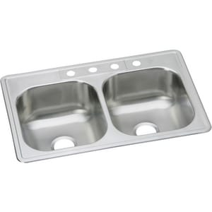 33 x 22 in. 4-Hole 2-Bowl Kitchen Sink 20 Gauge Stainless Steel