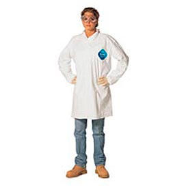 TY212SWHLG003000 Disposable Lab Coat - 2 Pocket - Open Collar - Snap Front, L, Case Of 30