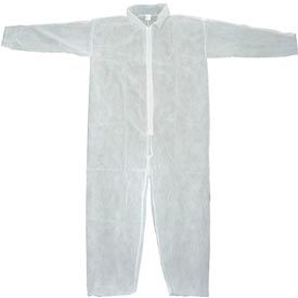 DCWH-LG Disposable Coveralls With Open Ended Wrists/Ankles, White, L