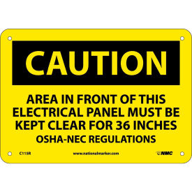"C115R Safety Signs - Caution Area - Rigid Plastic 7""H X 10""W"