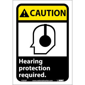 "CGA5P Graphic Signs - Caution Hearing Protection - Vinyl 7""W X 10""H"
