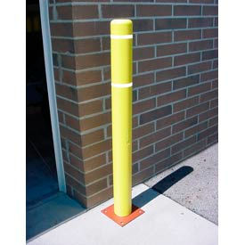 "BC452-YW 4""x 52"" Bollard Cover - Yellow Cover/White Tapes"