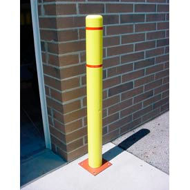 "BC464-YR 4""x 64"" Bollard Cover - Yellow Cover/Red Tapes"