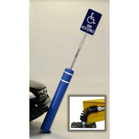 "52""h flexbollard™ with 8""h sign post - concrete installation - blue cover/black tapes"