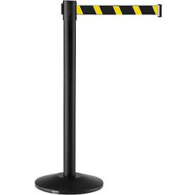 "EK7100LG-M-YB Crowd Control Stanchion, 39""H Black Post, 7-1/2 Yellow/Black Belt"