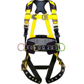 guardian series 3 harness with waist pad, tie back legs, 3 d-rings, xl-xxl