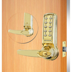 codelocks electronic leverset, cl4210-pb, key override for lighter doors, polished brass Codelocks Electronic Leverset, CL4210-PB, Key Override for Lighter Doors, Polished Brass