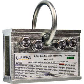 guardian universal standing seam roof clamp, 2-way, galvanized steel, 130-310 lbs. capacity Guardian Universal Standing Seam Roof Clamp, 2-Way, Galvanized Steel, 130-310 lbs. Capacity