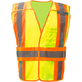 gss safety 1803 class 2 waist adjustable breakaway vest with 2 pockets, lime, m/xl GSS Safety 1803 Class 2 Waist Adjustable Breakaway Vest with 2 Pockets, Lime, M/XL