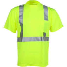 gss safety 5001 class 2 moisture wicking short sleeve safety t-shirt with chest pocket, lime, l GSS Safety 5001 Class 2 Moisture Wicking Short Sleeve Safety T-Shirt with Chest Pocket, Lime, L