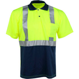 gss safety 5003 class 2 moisture wicking polo shirt, navy/lime, 2xl GSS Safety 5003 Class 2 Moisture Wicking Polo Shirt, Navy/Lime, 2XL