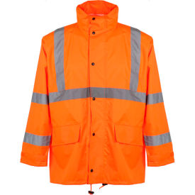 gss safety 6002 class 3 rain coat with 2 patch pockets, orange, l/xl GSS Safety 6002 Class 3 Rain Coat with 2 Patch Pockets, Orange, L/XL