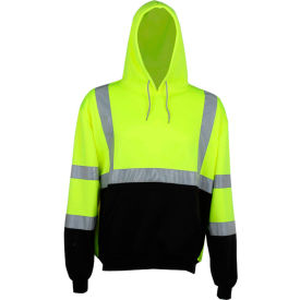 gss safety 7001 class 3 pullover fleece sweatshirt with black bottom, lime, large GSS Safety 7001 Class 3 Pullover Fleece Sweatshirt with Black Bottom, Lime, Large