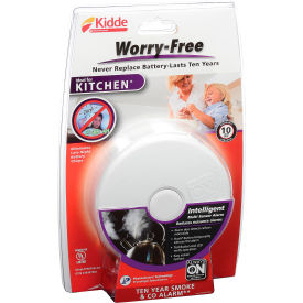 21010170 Kidde P3010K-CO Worry-Free Smoke & CO Alarm, Kitchen, 10-Year Sealed Lithium Battery Operated