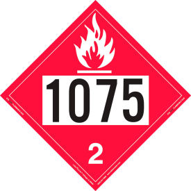 labelmaster® zt8-1075 flammable gas placard, un 1075, tagboard, 25/pack LabelMaster® ZT8-1075 Flammable Gas Placard, UN 1075, Tagboard, 25/Pack