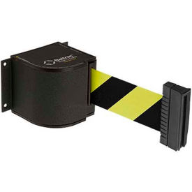 50-3015WB/18/SF Lavi Industries Wrinkle Black Wall Mount, 18L Safety Black/Yellow Retractable Belt Barrier