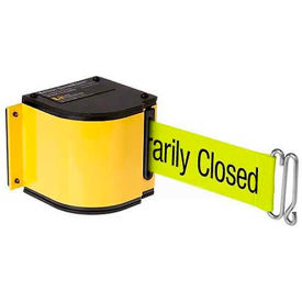 "50-3016M/YL/18/FY/S7 Lavi Industries Yellow Quick Mount Barricade, 18L ""Please Do Not Enter"" Belt, Modified Mount"
