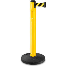 80-5000R/YL/SF Lavi Industries Tempest Stanchion, Yellow Plastic Post, 12L Blk/Yellow Belt, Recycled Rubber Base