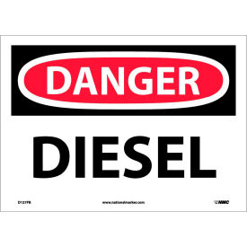 "D127PB NMC D127PB OSHA Sign, Danger Diesel, 10"" X 14"", White/Red/Black"