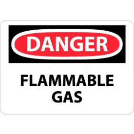"D276RB NMC D276RB OSHA Sign, Danger Flammable Gas, 10"" X 14"", White/Red/Black"