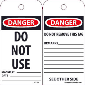 "RPT105 NMC RPT105 Tags, Do Not Use, 6"" X 3"", White/Red/Black, 25/Pk"