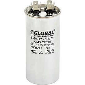 B430317 Global Industrial; B430317, 25 +/- 5% MFD, 370/440V, Run Capacitor, Round