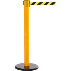SPRO300Y-YB Yellow Post Safety Barrier, 16 Ft., Yellow/Black Diagonal Stripe Belt